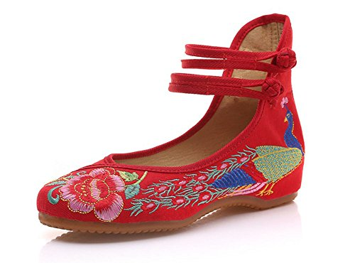 Minetom Damen Elegant Doppel-BGEL Ethnische Bestickte Schuhe Tanzschuhe Niedrigem Keil Ballerina Mary Jane Blumen Flache Rot EU 40 (Rote Glitter Janes Mary)
