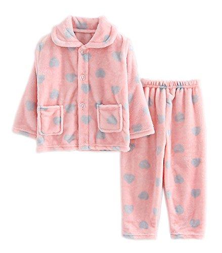 Flanell Kinder Pyjama rosa Herz weich Sleepsuit Velvet Nachtwäsche Nightcloth (Herz-flanell-pyjama)