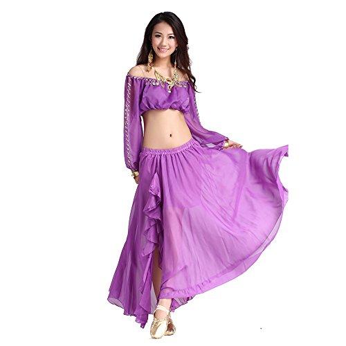 Tanz-Outfits Tanzkleidung Bauchtanz -Kostüm-Set Chiffon Long latern Sleeve Tops & Split Skirt (Kostüme Verkauf Ballett Für Tanz)