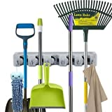 #4: JannatOne Pearl Mop and Broom Holder, Multipurpose Wall Mounted Organizer Storage Hooks, Ideal Broom Hanger for Kitchen Garden and Garage (5 Position 6 Hooks)