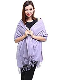 "REEMONDE Extra Large 79""x28"" Women Soft Cashmere Lambswool Luxurious Solid Pashmina Wrap Shawl Stole Scarf (Lavender)"