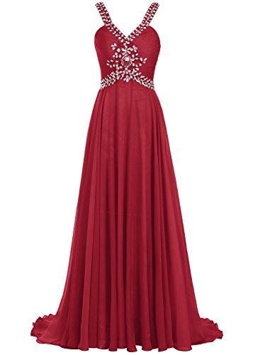 Bbonlinedress Robe de cérémonie emperlée forme empire avec traîne Rouge Foncé