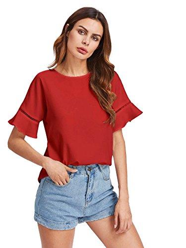 DIDK Damen Elegant Sommer Bluse mit Trompeten-Ärmeln Kurzarm Shirt Rot L