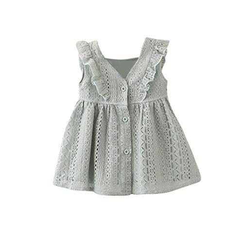 Mädchen Kleider Dasongff Mädchen Spitze Kleid Rüschen Prinzessin Kleider Taste Hohl Kleid Kleidung Festlich Party Kleid Abendkleider Baby Kleider Outfits Kinderbekleidung (100-3T, ()