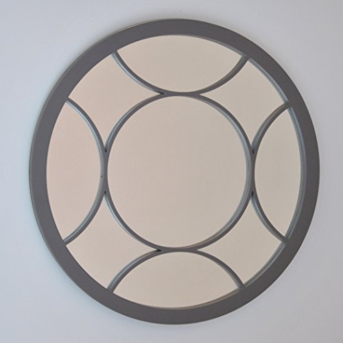 DECOHOGAR.SHOP Miroir Mural Rond - Croix Grand - 80 x80 cm - Argenté laqué