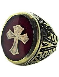 3726267d8932 manufactuter silveringjewelry Anillo Sello de Hombre en Plata 925 y castone  de Latón con Cruz de