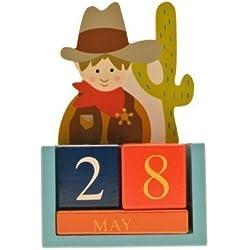 Gisela Graham vaquero y calendario perpetuo que indica indio de madera