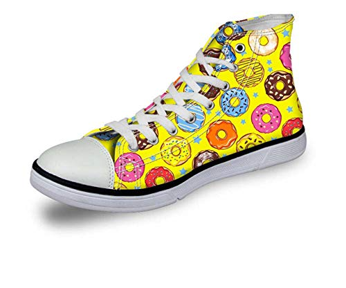 Fashion Donuts Women Casual Shoes Hi Tops Canvas Plimsolls Comfort Walking Pumps Yellow C4513AK UK 8