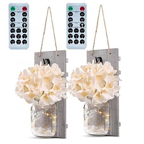 TianranRT❄Led Nachtlicht,Einmachglas Wandleuchte Dekor Mit Led Lichterkette Rustikale Wohnkultur Vase 2 Stück Laterne Dekoration (Rosa) - Wechselstrom-wand-ladegerät-adapter