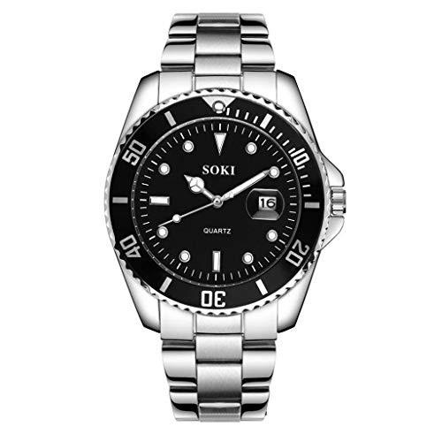 b05a9ef3313d Soki Relojes De Pulsera para Hombres Reloj De Cuarzo Calendario Cinturones De  Acero para Hombre Alto
