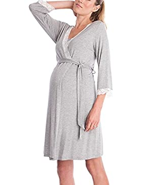 Hibasing Camicia da notte 3/4 con maternità 2in1 gravidanza e allattamento con collo a V per l'allattamento al...