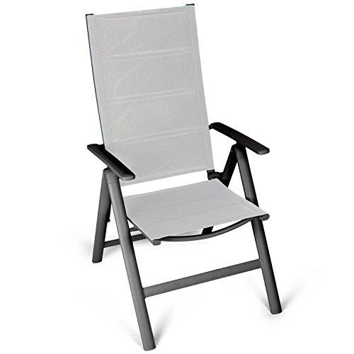 Vanage sedia a sdraio pieghevole con schienale reclinabile e braccioli, imbottita, ideale per  giardino, balcone o spiaggia - grigio