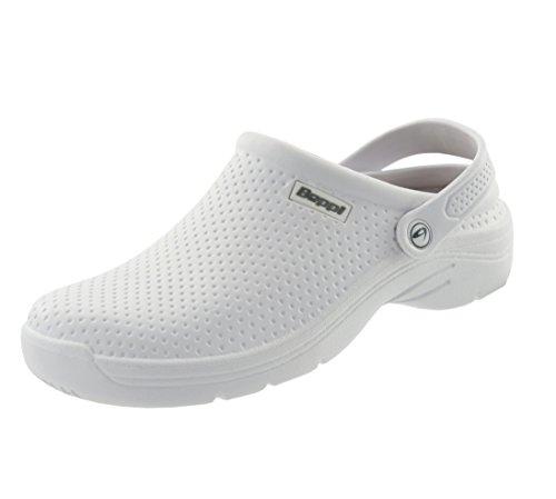 Beppi Clogs Damen-Hausschuhe | Pantoletten mit Komfort-Ledersohle | Schuhe Für Pflegeberufe, Krankenhaus, Gartenarbeit Weiß | Größe 40