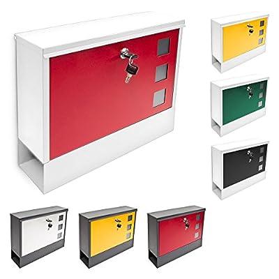 Relaxdays Briefkasten modern, mit zwei Schlüsseln, abschließbar und mit Zeitungsfach, zweifarbig, Schwarz / Rot