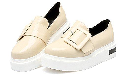 Aisun Damen Lack Metall Flach Schuhe Sneaker Beige 38 EU nljAK