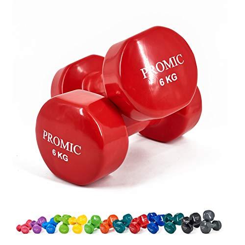 PROMIC Solid Hand Gewichte Deluxe Vinyl Hanteln mit einem rutschfesten Griff für Fitness Übung, Rot, 2 x 6kg
