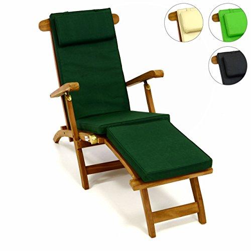 Divero Liegestuhl Eleganter Deckchair Florentine Steamer Chair Teakholz Liegenauflage mit Kopfteil...