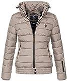 Marikoo Damen Winter Jacke Stepp Winterjacke Stehkragen gefüttert warm B667 [B667-Poiso-Taupe-Gr.M]