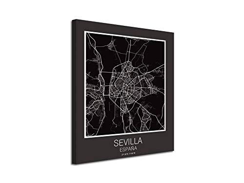 Foto Canvas Cuadro Mapa Sevilla España en Lienzo Canvas Impreso Decorativo | Cuadros Modernos