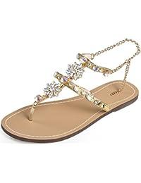 Complementos Zapatos Aarwztaq Doradas Amazon Es Sandalias Planas Y CxerdoBW