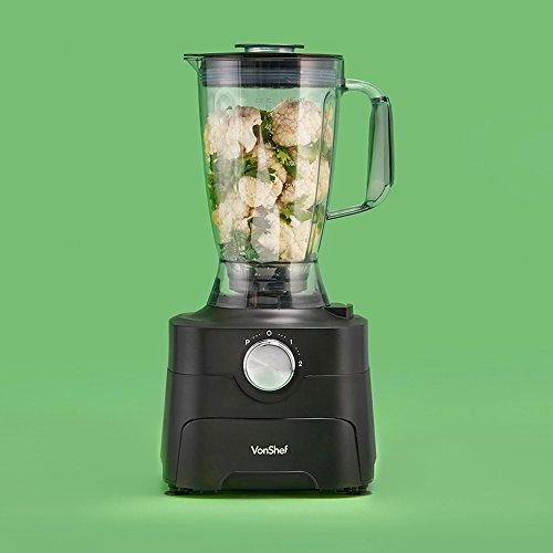 VonShef 1000W Food Processor – Blender, Chopper, Multi Mixer Machine with Dough Blade, Shredder & Grater – Includes Accessory Drawer