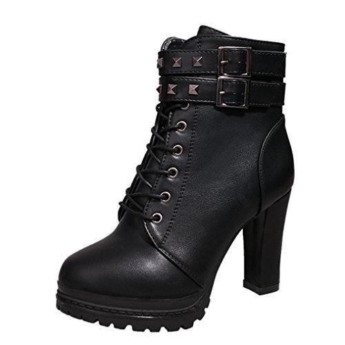 Damen Schuhe Dasongff Damen Stiefel Absatz Ankle Boots Kurz Stiefel High Heels Plattform Stiefeletten Dünne Ferse Lace-Up Boots Schuhe Britischer Stil Stiefel (EU:37, Sexy Schwarz) (Ferse-plattform-schuhe)