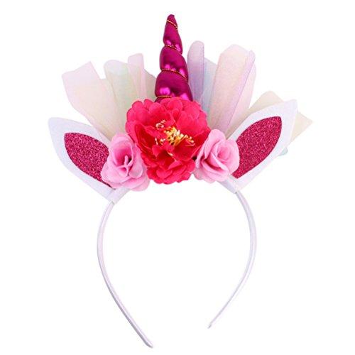 Frcolor - diadema de unicornio con purpurina con orejas para niñas, diadema de flores (rosa rojo)
