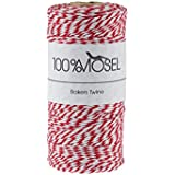 100 m Bakers Twine/ Ficelle rouge / blanc, 2 mm