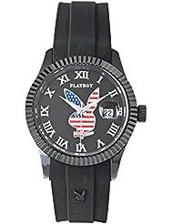 Playboy USA38BB - Reloj analógico de cuarzo unisex, correa de silicona color negro