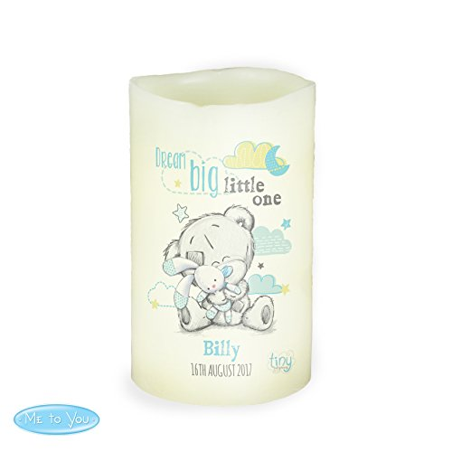 Personalizable Tiny Tatty Teddy–Dream Big azul lámpara LED Vela