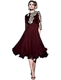 Lords Maroon Geprgette Semi Stitched Embroidery With Embroidery Kurti