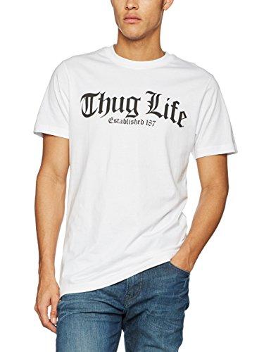 Mister Tee Herren Thug Life Old English T-Shirts, White, M