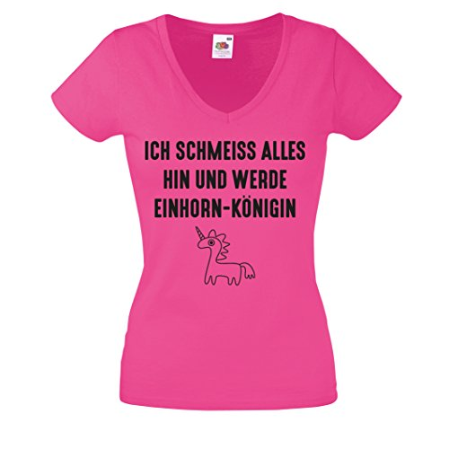 Damen Shirt V-Neck ICH SCHMEISS ALLES HIN UND WERDE EINHORN KÖNIGEN T-Shirt Damen Gr. S - XXL Pink-Schwarz
