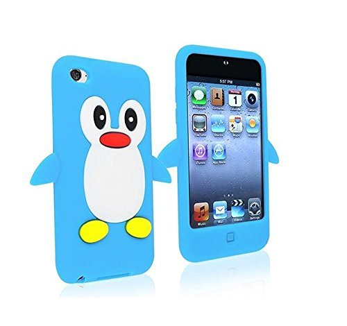 Tsmine Apple Ipod Touch 4. Generation Pinguin-Karikatur-Fall - Cute 3D Penguin Weiche Silikon-Rückseite waschbar Cover Case Schutzhülle für iPod Touch 4. Gen., Hellblau -