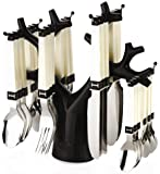 WaqifStainless Steel Fork Table Spoon Tree Cutlery Set, 25-Pieces | Spoons Sets | Spoon Stand Holder | Spoons and Forks…