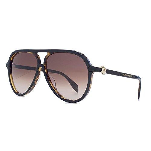 Alexander McQueen Crâne emblématique acétate lunettes de soleil aviateur en  noir sur la Havane AM0020S 002 bd72221d4e7