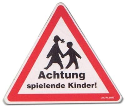 Hinweisschild - Achtung spielende Kinder - Kind Schild Warnschild Spielplatz Spielstraße Spielstrasse Warnzeichen Arbeitssicherheit Türschild Tür Kunststoff Kunststoffschild Geschenk Geburtstag T-Shirt
