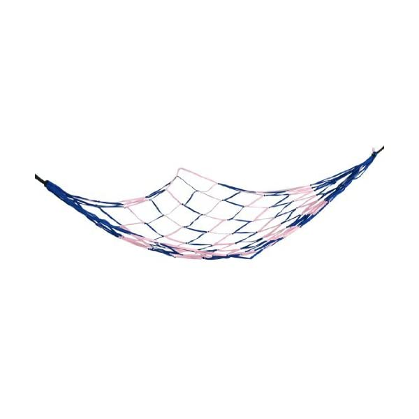 DealMux Pink Blue Nylon Mesh Garden Swing Net Bedrooms Sleeping Hammock 2.1 x 1.6 DealMux  1