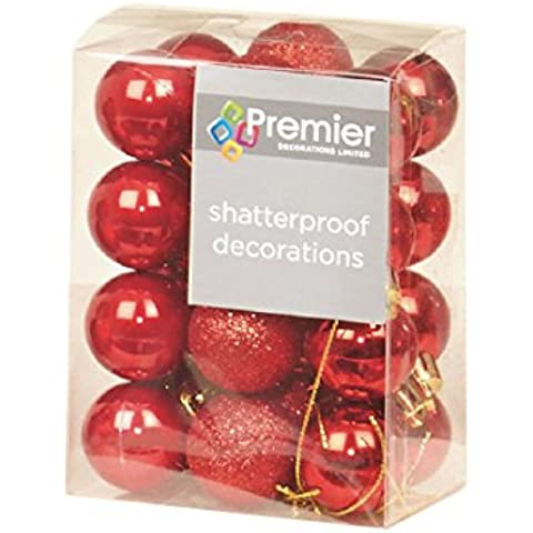Premier - Juego de 24 bolas de Navidad (irrompibles), color rojo