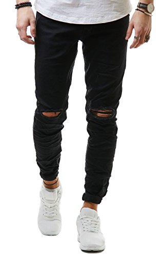 EightyFive Herren Jeans Denim Hose Slim Fit Skinny Destroyed Stretch EF1512, Hosengröße:W32 L32, Farbe:Schwarz 2