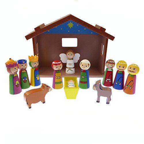 Infantil Navidad Escena natividad juego adorno madera caseta Jesús 12 unidades