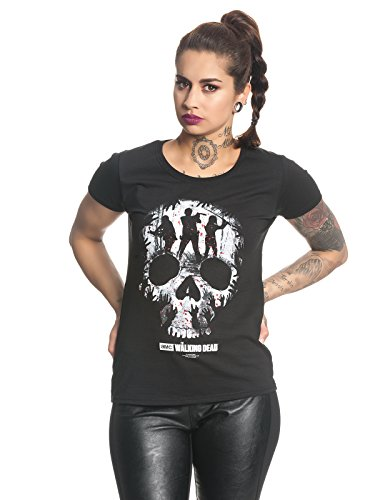 The Walking Dead Skull Camiseta Mujer Negro XS