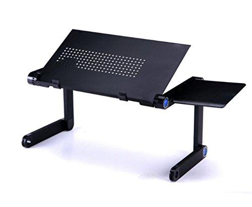 Hhrong 360 ° Laptop-Ständer kann auf Höhe angepasst Werden tragbare Laptop Schreibtisch Bett Sofa Laptop Stand (kein Ventilator) (Farbe : Schwarz)