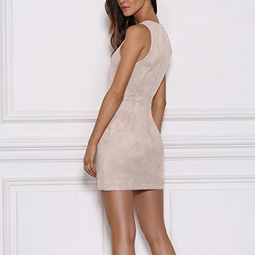 QIYUN.Z Frauen Sleeveless Verband Bodycon Nacht Party Clubwear Rosafarbenes Kleid Aprikose
