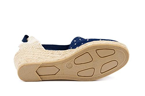 VISCATA Escala 2.5 Heel, Soft Ankle-Tie, Closed Toe, Classic Espadrilles Heel Made in Spain Bleu