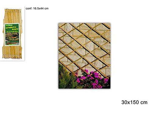 Galleria fotografica Vetrineinrete® Traliccio estensibile in legno per piante rampicanti grigliato in legno per decorazione giardino gazebo veranda balcone per fiori rose edera vasi varie misure (150 x 30) F40