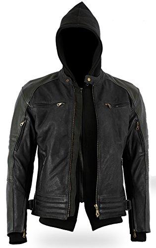 Bikers-Gear-The-Craig-moto-giacca-cerata-in-pelle-bovina-Removablehoodie-nubuck-con-5-punti-Armour-CE-1621--1-3-x-L-Full-nero-taglia-UK46-EU56