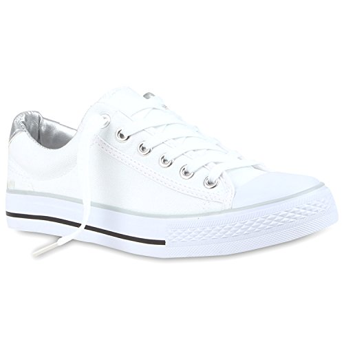 Weiße Damen Basic Sneakers Low Bequeme Freizeit Turnschuhe Silber