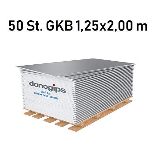 50 St. (= 125 m²) Gipskarton-Platten/Bauplatte GKB (12,5 mm) 1,25 x 2,00 m