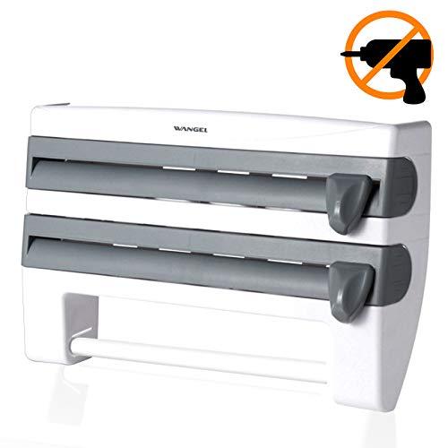 Wangel Wandmontierter Papier Küchenrollenhalter ohne Bohren, Küchenrollenspender mit Folienschneider, Kunststoff-Turmhalter 4-in-1 für Frischhaltefolie Folienspender